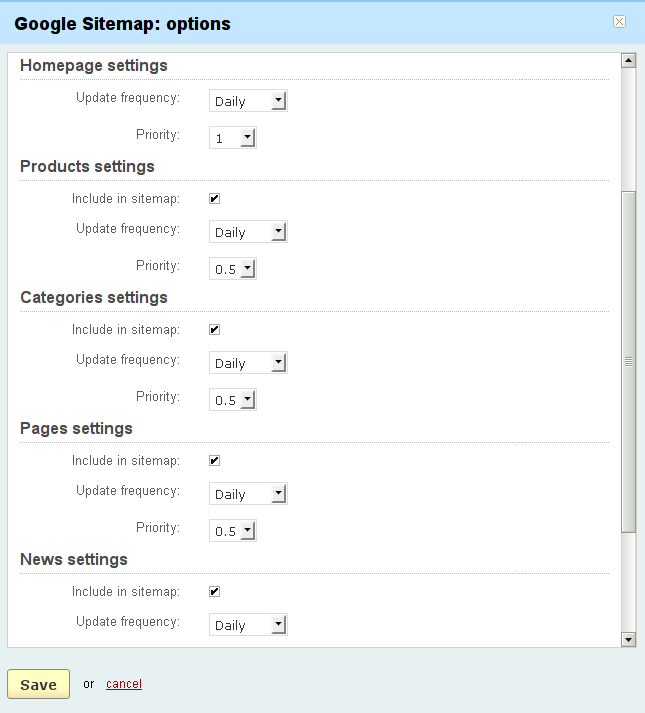 knowledge base addons google sitemap setting up the google