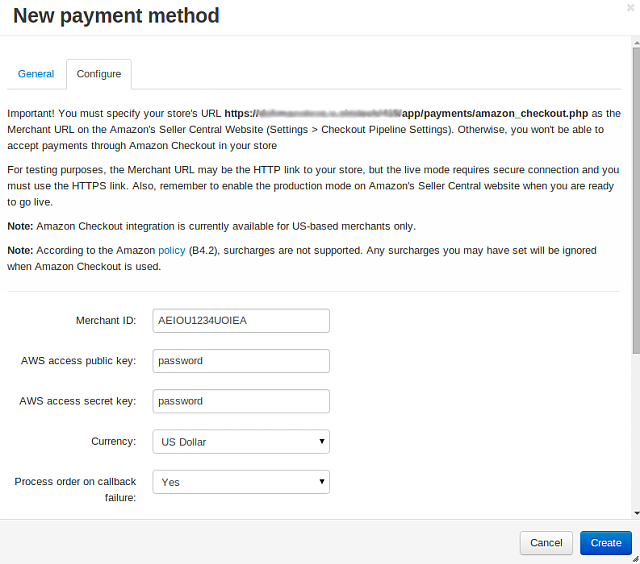 Knowledge base :: Payment methods :: Setting up CS-Cart with Amazon